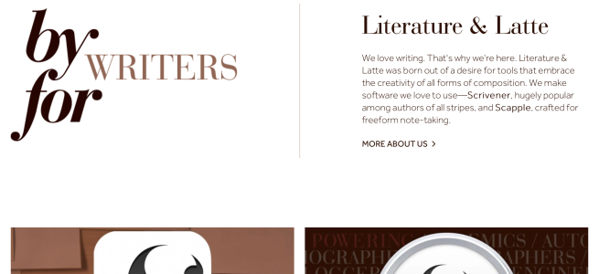 screenshot of Scrivener website